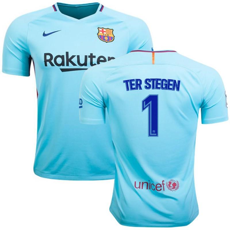 1d97b3582 Youth FC Barcelona  1 Marc-Andre Ter Stegen Away Authentic Jersey 2017 18  Light Sky Blue