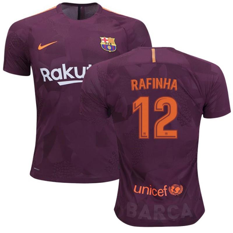 085353e4427 kid s FC Barcelona  12 Rafinha Third Replica Jersey 2017 18 Dark Red