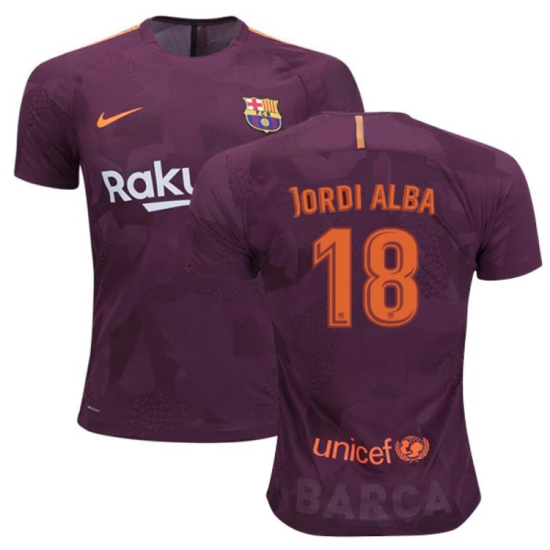10e8e17a5fb FC Barcelona  18 Jordi Alba Third Authentic Jersey 2017 18 Dark Red