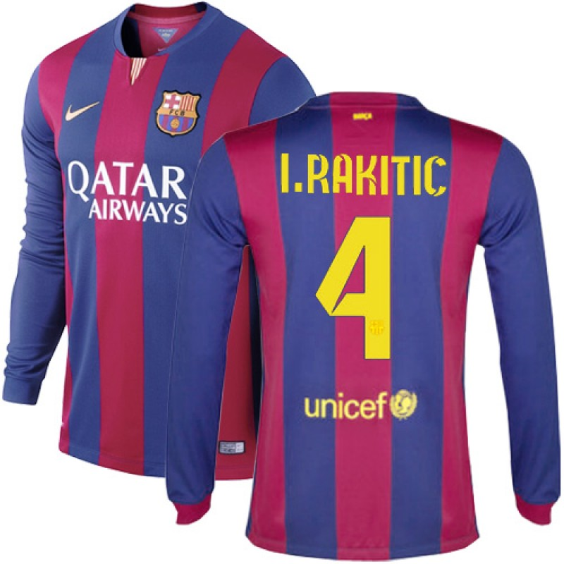 Barcelona #4 Ivan Rakitic Blue Maroon Stripes Home Authentic Soccer Jersey  14/15 Spain Futbol Club Long Sleeve Shirt For Sale Size XS/S/M/L/XL