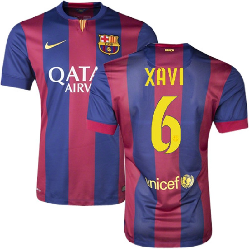 Barcelona #6 Xavi Hernandez Blue Maroon Stripes Home Authentic ...