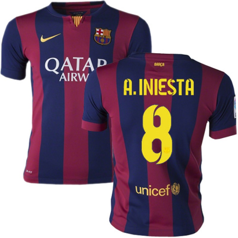 Youth Barcelona #8 Andres Iniesta Blue Maroon Stripes Home Replica Soccer  Jersey 14/15 Spain Futbol Club Short Shirt For Sale Size XS/S/M/L/XL