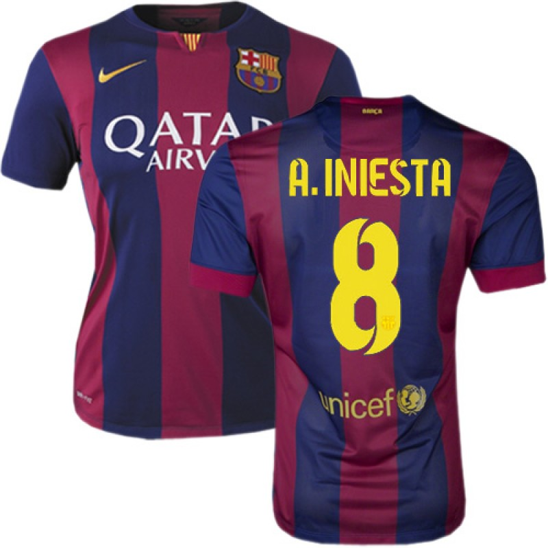 Women 39 s barcelona 8 andres iniesta blue maroon stripes home authentic soccer jersey 14 15 spain - Forlady barcelona ...