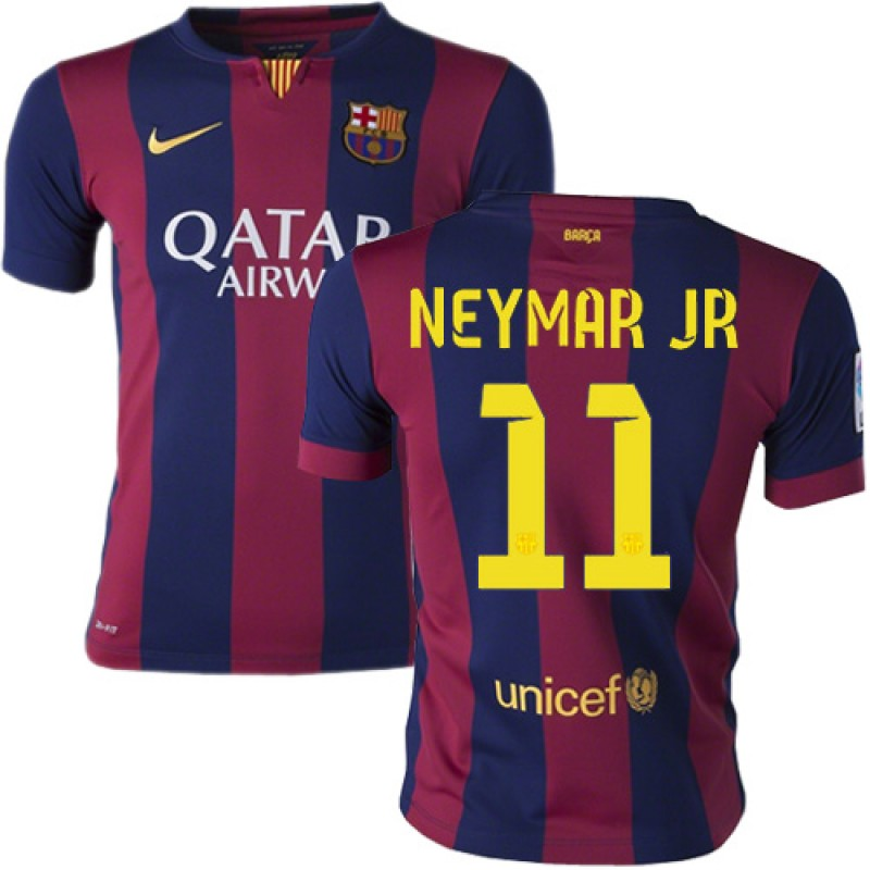 391444162 Youth Barcelona  11 Neymar JR Blue Maroon Stripes Home Authentic Soccer  Jersey 14 15 Spain Futbol Club Short Shirt For Sale Size XS S M L XL