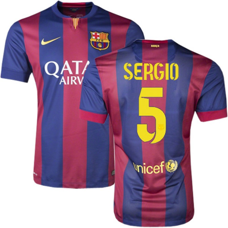 Barcelona #5 Sergio Busquets Blue Maroon Stripes Home Authentic Soccer  Jersey 14/15 Spain Futbol Club Short Shirt For Sale Size XS/S/M/L/XL