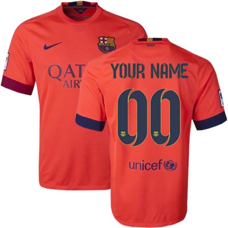 size 40 d3b03 03909 Barcelona Customized Orange Away Authentic Soccer Jersey 14 ...