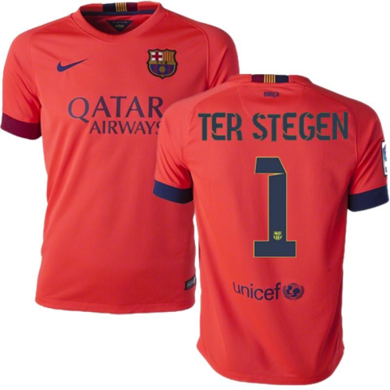 66a1ab80d08 Youth Barcelona  1 Marc-Andre Ter Stegen Orange Away Authentic Soccer Jersey  14 15 Spain Futbol Club Short Shirt For Sale Size XS S M L XL