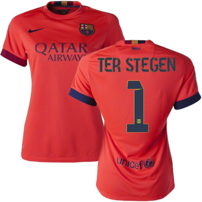 b104d736588 ... womens barcelona 1 marc andre ter stegen orange away authentic soccer  jersey 14 15 spain futbol
