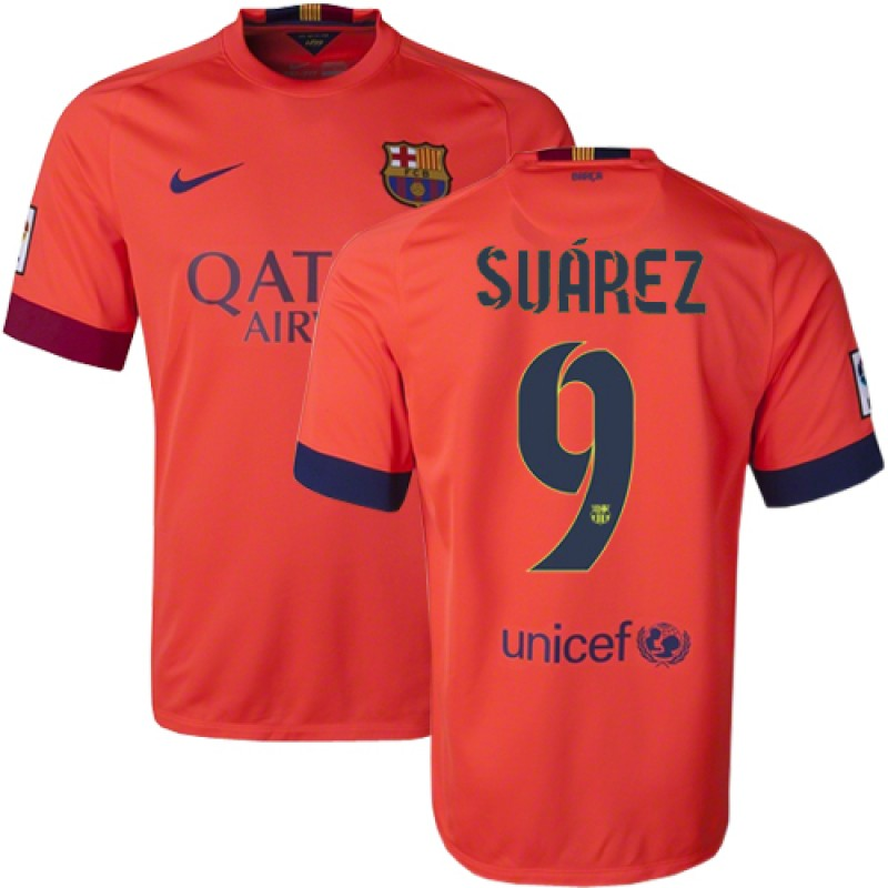 quality design 11996 0288c Barcelona #9 Luis Suarez Orange Away Authentic Soccer Jersey ...