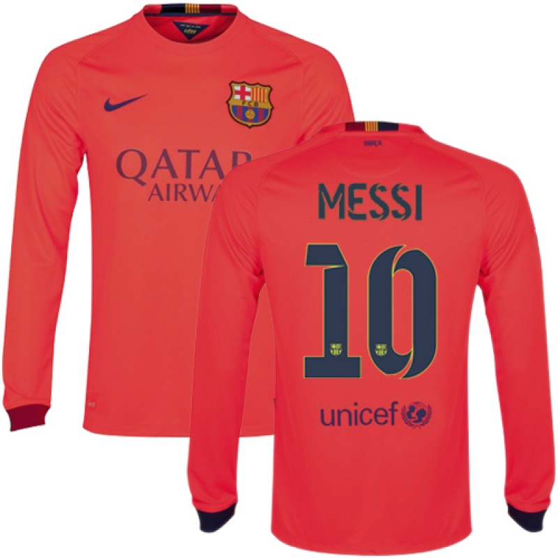 new styles b5709 ead9e Barcelona #10 Lionel Messi Orange Away Authentic Soccer ...