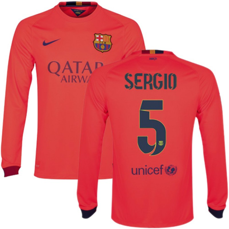 720f31e3c Barcelona  5 Sergio Busquets Orange Away Authentic Soccer Jersey 14 15  Spain Futbol Club Long Sleeve Shirt For Sale Size XS S M L XL