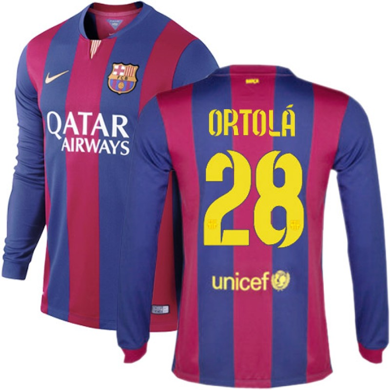 7502c713a Barcelona  28 Adrian Ortola Blue Maroon Stripes Home Authentic Soccer Jersey  14 15 Spain Futbol Club Long Sleeve Shirt For Sale Size XS S M L XL