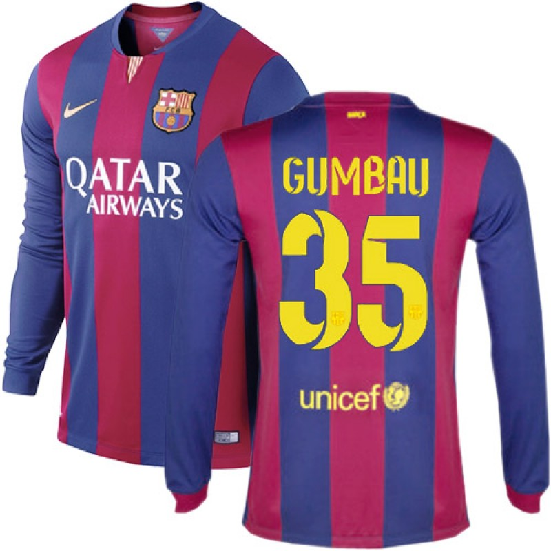 barcelona 35 gerard gumbau blue maroon stripes home authentic soccer jersey 1415 spain futbol club long sleeve shirt for sale size xssmlxl