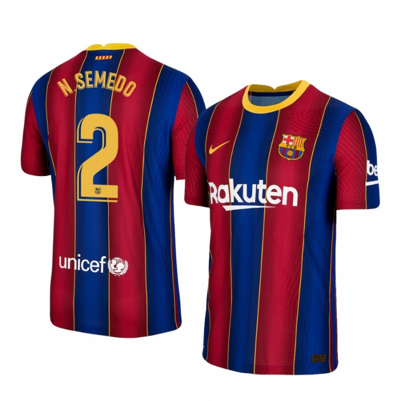 Youth #2 Nelson Semedo Home Blue Red Authentic 2020/21 Barcelona ...