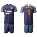 2018/19 Barcelona #1 TER STEGEN Dark Blue Training Soccer Jersey