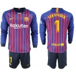 2018/19 Barcelona #1 TER STEGEN Home Long Sleeve Blue Red Soccer Jersey