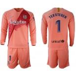 2018/19 Barcelona #1 TER STEGEN Third Long Sleeve Pink Soccer Jersey