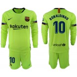 2018/19 Barcelona #10 RONALDINHO Away Long Sleeve Light Green Soccer Jersey