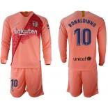 2018/19 Barcelona #10 RONALDINHO Third Long Sleeve Pink Soccer Jersey