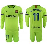 2018/19 Barcelona #11 O. DEMBELE Away Long Sleeve Light Green Soccer Jersey