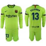 2018/19 Barcelona #13 CILLESSEN Away Long Sleeve Light Green Soccer Jersey