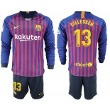2018/19 Barcelona #13 CILLESSEN Home Long Sleeve Blue Red Soccer Jersey