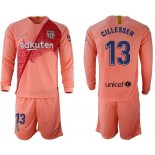 2018/19 Barcelona #13 CILLESSEN Third Long Sleeve Pink Soccer Jersey