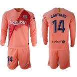 2018/19 Barcelona #14 COUTINHO Third Long Sleeve Pink Soccer Jersey