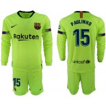 2018/19 Barcelona #15 PAULINHO Away Long Sleeve Light Green Soccer Jersey