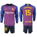 2018/19 Barcelona #15 PAULINHO Home Long Sleeve Blue Red Soccer Jersey