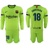 2018/19 Barcelona #18 JORDI ALBA Away Long Sleeve Light Green Soccer Jersey