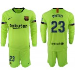 2018/19 Barcelona #23 UMTITI Away Long Sleeve Light Green Soccer Jersey