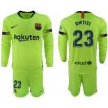 2018/19 Barcelona #23 UMTITI Away Long Sleeve Light Green Soccer Jersey