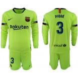 2018/19 Barcelona #3 PIQUE Away Long Sleeve Light Green Soccer Jersey