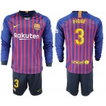 2018/19 Barcelona #3 PIQUE Home Long Sleeve Blue Red Soccer Jersey