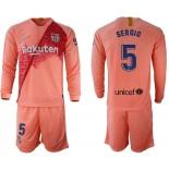 2018/19 Barcelona #5 SERGIO Third Long Sleeve Pink Soccer Jersey