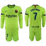 2018/19 Barcelona #7 COUTINHO Away Long Sleeve Light Green Soccer Jersey