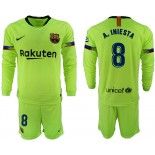 2018/19 Barcelona #8 A. INIESTA Away Long Sleeve Light Green Soccer Jersey