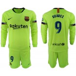2018/19 Barcelona #9 SUAREZ Away Long Sleeve Light Green Soccer Jersey