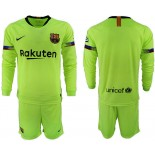 2018/19 Barcelona Away Long Sleeve Light Green Soccer Jersey