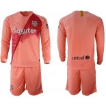 2018/19 Barcelona Third Long Sleeve Pink Soccer Jersey