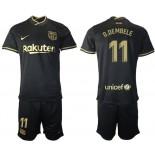 2020/21 Barcelona #11 Ousmane Dembele Away Black Authentic Jersey