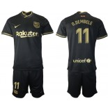 2020/21 Barcelona #11 Ousmane Dembele Away Black Replica Jersey