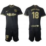 Youth 2020/21 Youth Barcelona #18 Jordi Alba Away Black Replica Jersey