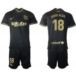 Womens 2020/21 Womens Barcelona #18 Jordi Alba Away Black Authentic Jersey