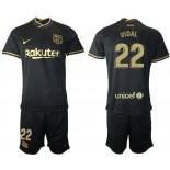 Womens 2020/21 Womens Barcelona #22 Arturo Vidal Away Black Replica Jersey