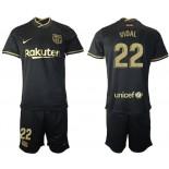 Womens 2020/21 Womens Barcelona #22 Arturo Vidal Away Black Replica Jersey