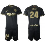 Youth 2020/21 Youth Barcelona #24 Junior Firpo Away Black Replica Jersey