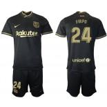 2020/21 Barcelona #24 Junior Firpo Away Black Replica Jersey