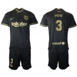 Youth 2020/21 Youth Barcelona #3 Gerard Pique Away Black Replica Jersey